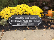 WEDDING and/or ANNIVERSARY SIGN  A sign that is perfect for weddings & anniversaries. Each sign is personalized with first names, last name and wedding date. The standard color is black background with white text. It comes with rear saw tooth hangers for easy installation.