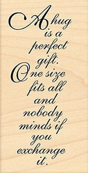 A Hug Is A Perfect Gift Text, Wood Mounted Rubber Stamp PENNY BLACK - NEW, 4179J