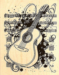Acoustic Sounds, Wood Mounted Rubber Stamp STAMPENDOUS, NEW - R224