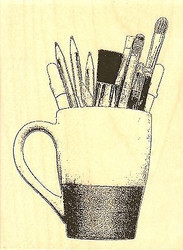 Artist Mug, Wood Mounted Rubber Stamp IMPRESSION OBSESSION - NEW, E13279