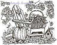 Autumn Adirondack Chair Scene Wood Mounted Rubber Stamp NORTHWOODS M8694 New