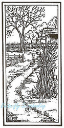 Autumn Fall Farm Scene Wood Mounted Rubber Stamp Northwoods Rubber Stamp New