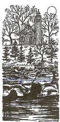 Autumn Fall LIGHTHOUSE With Pines Wood Mounted Rubber Stamp NORTHWOODS O9615 New