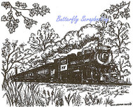 Autumn Fall Train Scene Wood Mounted Rubber Stamp NORTHWOODS P9605 New