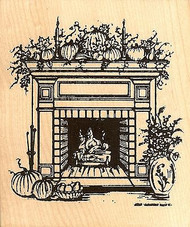 Autumn Fireplace, Wood Mounted Rubber Stamp NORTHWOODS - NEW, P4758