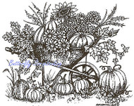 Autumn Thanksgiving Wheelbarrow Wood Mounted Rubber Stamp NORTHWOODS P9617 New