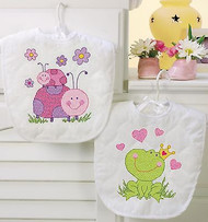 Baby Bibs Stamped Cross Stitch Kit Dimensions 70-73542 Cross Stitch 2 Bibs NEW