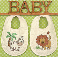 Baby Bibs Stamped Cross Stitch Kit Dimensions 70-73881 Cross Stitch 2 Bibs NEW