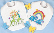 Baby Bibs Stamped Cross Stitch Kit Dimensions 73126 Cross Stitch Kit 2 Bibs NEW