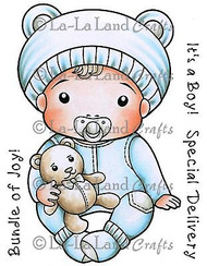 BABY Boy Luka Stamp Set Cling Unmounted Rubber Stamp La La Land Crafts 5240 New