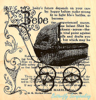 Baby Carriage Collage Wood Mounted Rubber Stamp STAMPENDOUS Stamp W127 New