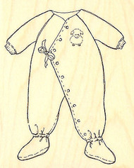 Baby PJ's Sweet Sleeper Wood Mounted Rubber Stamp Impression Obsession NEW