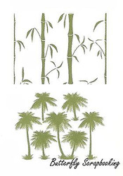 Bamboo & Palm Trees, Double-sided Embossing Plate CHEERY LYNN DESIGN - NEW, E114