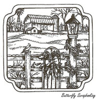 Barn With Lamp Post And Fence, Wood Mounted Rubber Stamp NORTHWOODS- NEW, PP9635