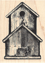 Barnwood Birdhouse Wood Mounted Rubber Stamp IMPRESSION OBSESSION Bird Birds New