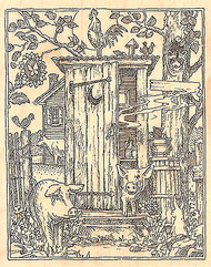 Barnyard Outhouse, Wood Mounted Rubber Stamp IMPRESSION OBSESSION - NEW, H1944