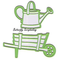 Barrow Watering Can 2 Dies Steel Craft Cutting Dies by Lea'bilities 45.0317 New