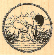 Beach Beachcomber Boy Wood Mounted Rubber Stamp Impression Obsession D13015 NEW