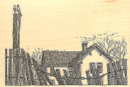 Beach House With Fence Wood Mounted Rubber Stamp Impression Obsession NEW