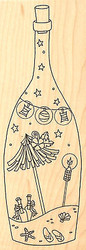 BEACH IN A BOTTLE Wood Mounted Rubber Stamp Impression Obsession E2415 NEW
