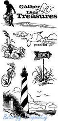 Beach Treasures Seaside Clear Unmounted Rubber Stamp Set INKADINKADO 60-30059