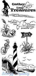 Beach Treasures Seaside Clear Unmounted Rubber Stamp Set INKADINKADO 60-30059