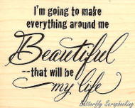 Beautiful Life Text, Wood Mounted Rubber Stamp STAMPENDOUS, NEW - V273