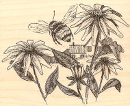 Bee Flowers Coming Home Wood Mounted Rubber Stamp Impression Obsession G1504 NEW