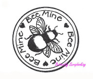 Bee Mine Circle With Bee, Wood Mounted Rubber Stamp NORTHWOODS - NEW, CC9387