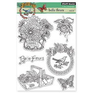 Belle Fleurs, Clear Unmounted Rubber Stamp Set PENNY BLACK- NEW, 30-217