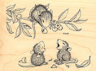 Berry Sharing HOUSE MOUSE Wood Mounted Rubber Stamp STAMPENDOUS, NEW - HMR23