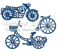 BIKE His Transport Set DIES Craft Die Cutting Die Tattered Lace Dies D216 New