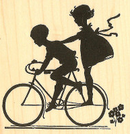 Bike Silouette Wood Mounted Rubber Stamp Impression Obsession Alesa Baker NEW