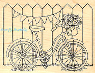 Bike With Basket and Fence Wood Mounted Rubber Stamp STAMPENDOUS Stamp R194 New