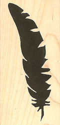 Bird Feather #1 Wood Mounted Rubber Stamp Impression Obsession Stamp E13190 NEW