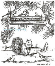 Bird Feeder Squirrel Pines Wood Mounted Rubber Stamp Northwoods Rubber Stamp New