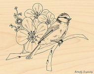 BIRD Flower Branch NATURES DAY Wood Mounted Rubber Stamp PENNY BLACK 4157K New