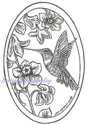 Bird Hummingbird Trumpet Oval Wood Mounted Rubber Stamp NORTHWOODS - P8428 New