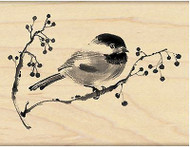 Bird On Branch Ode to Christmas Wood Mounted Rubber Stamp PENNY BLACK 4396J New
