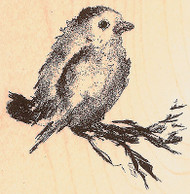 Bird on Branch Wood Mounted Rubber Stamp Impression Obsession E7716 NEW