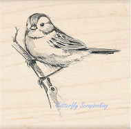 BIRD Sparrow On A Branch Wood Mounted Rubber Stamp by INKADINKADO 97893 NEW