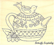 Bird Teapot, Wood Mounted Rubber Stamp IMPRESSION OBSESSION - NEW, D16015