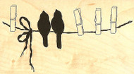 Birds Clothesline Wood Mounted Rubber Stamp Impression Obsession Alesa Baker NEW