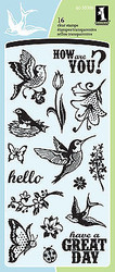 Birds Flowers Sayings Clear Unmounted Rubber Stamp Set INKADINKADO 60-30306 NEW