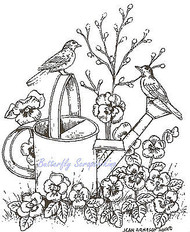 Birds Robins On Watering Can Wood Mounted Rubber Stamp NORTHWOODS M8033 New