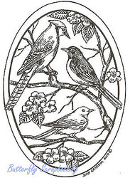 BIRDS Spring Flowers Oval Wood Mounted Rubber Stamp NORTHWOODS P7381 New