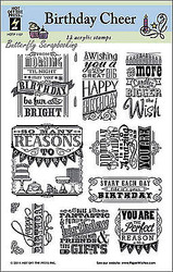 Birthday Cheer Stamp Set, Unmounted Rubber Stamps HOT OFF THE PRESS, NEW - 1137