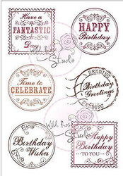 Birthday Greetings Clear Unmounted Rubber Stamps Wild Rose Studio #CL379 New