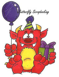 Birthday Monster Balloon Cling Unmounted Rubber Stamp C.C. Designs DD1014 New
