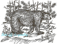 Black BEAR In Forest Wood Mounted Rubber Stamp Northwoods P654 Rubber Stamp New